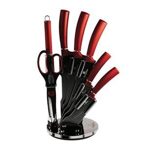 SET DE CUCHILLOS de 6 piezas con atril color negro-burgundy