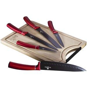 Set de cuchillos 6 piezas con tabla de Bambú