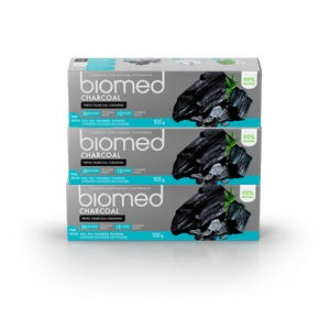 pasta dental BIOMED CHARCOAL 100gr, Pack 3 unidades