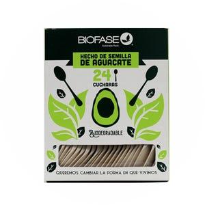 Cucharas Biodegradables 24 Unidades Hecho del Cuesco de la Palta