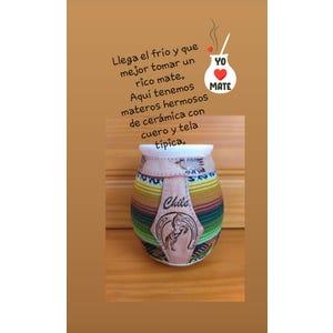 MATERO de Ceramica  con Tela Tipica y Cuero