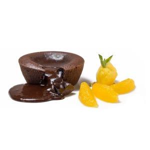 volcán de chocolate 63% cacao( caja de 4 unidades de 120 gr aprox cada volcán)