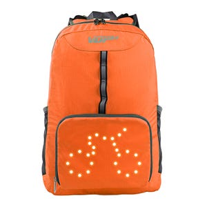 Mochila para ciclistas con señalética led naranja