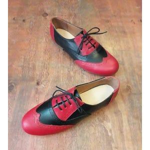 Zapatos Oxford Rojo Negro - Talla 37