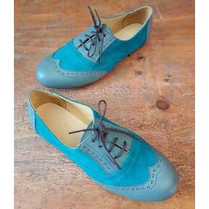 Zapatos Oxford turquesa gris - Talla 37