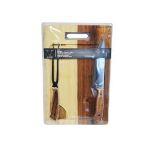 Set Parrillero 3 pcs, tabla + cuchillo + tenedor